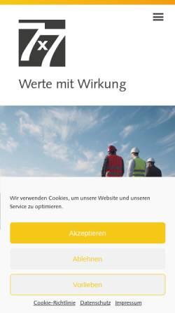 Vorschau der mobilen Webseite www.7x7.de, 7x7sachwerte GmbH & Co. KG