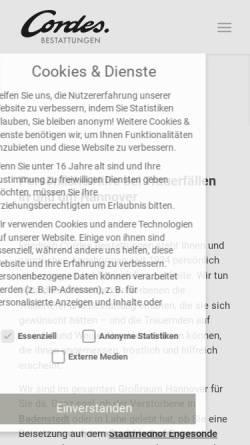 Vorschau der mobilen Webseite www.hannover-bestattung.de, Friedrich Cordes Bestattungen