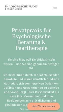 Vorschau der mobilen Webseite www.benjamin-dittrich.de, Philosophische Praxis Benjamin Dittrich