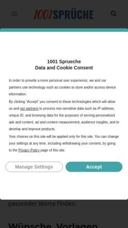 Vorschau der mobilen Webseite 1001sprueche.com, 1001 Sprüche