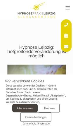 Vorschau der mobilen Webseite hypnosepraxis-leipzig.de, Hypnosepraxis Leipzig - Alexander Fenz