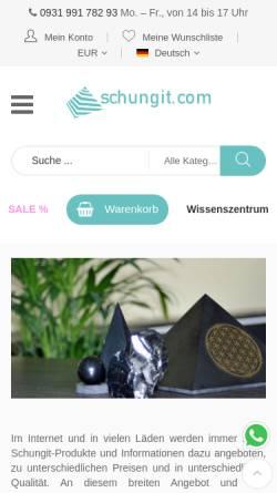 Vorschau der mobilen Webseite www.schungit.com, Schungits - Strecker UG