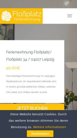 Vorschau der mobilen Webseite ferienwohnungleipzig.org, Ferienwohnung Floßplatz