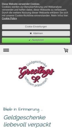 Vorschau der mobilen Webseite www.greetings.kaufen, Geldgeschenke Zadrazil e.U.