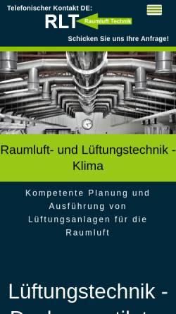 Vorschau der mobilen Webseite www.lueftungstechnik-klima.de, Raumluft Technik - Michael Granzow