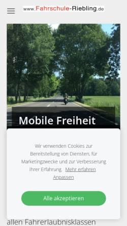 Vorschau der mobilen Webseite www.fahrschule-riebling.de, Fahrschule Riebling - Inh. Ulf Riebling