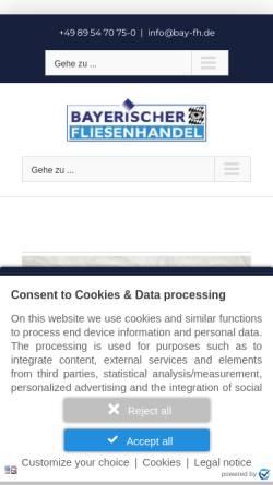 Vorschau der mobilen Webseite bayerischer-fliesenhandel.de, Bayerischer Fliesenhandel GmbH