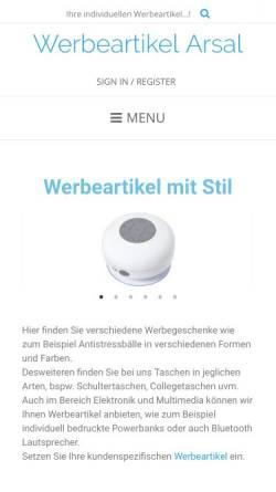 Vorschau der mobilen Webseite werbeartikel-arsal.de, Werbeartikel Arsal