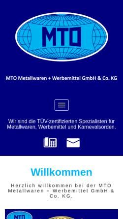 Vorschau der mobilen Webseite www.mto-metallwaren.de, MTO Metallwaren + Werbemittel GmbH & Co. KG