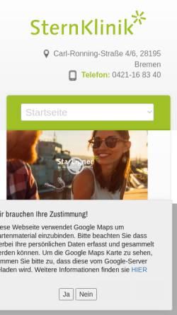 Vorschau der mobilen Webseite www.sternklinik.net, SternKlinik - medi-z GmbH & Co. KG