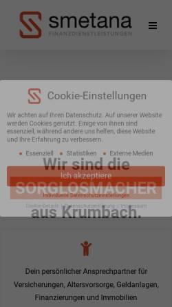 Vorschau der mobilen Webseite www.finanzdienstleistungen-smetana.de, Finanzdienstleistungen Gerlinde Smetana