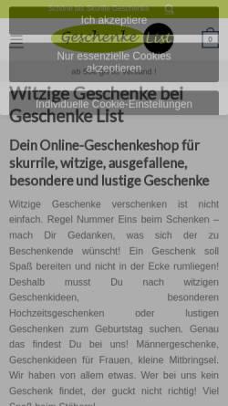 Vorschau der mobilen Webseite geschenkelist.de, Geschenke List