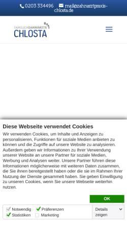 Vorschau der mobilen Webseite zahnarztpraxis-chlosta.de, Zahnarztpraxis Chlosta