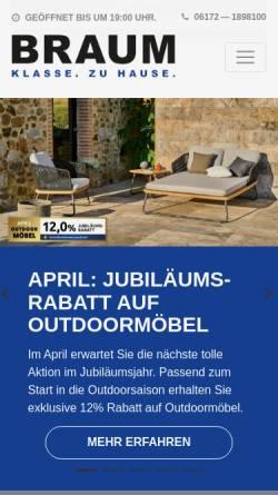 Vorschau der mobilen Webseite www.moebelbraum.de, Möbel Braum GmbH & Co. KG