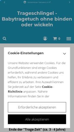 Vorschau der mobilen Webseite www.trageschlingel.at, Trageschlingel
