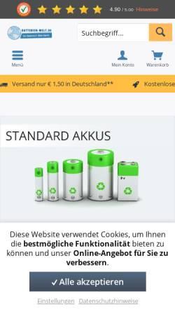 Vorschau der mobilen Webseite batterien-welt.de, batterien-welt - Frutiger GbR