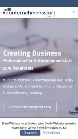 Vorschau der mobilen Webseite unternehmensstart.berlin, unternehmensstart.berlin