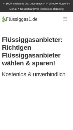 Vorschau der mobilen Webseite www.fluessiggas1.de, Flüssiggas1.de GmbH