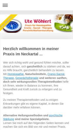 Vorschau der mobilen Webseite www.homoeopathie-woehlert.de, Praxis Ute Wöhlert Heilpraktikerin