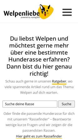 Vorschau der mobilen Webseite www.welpen-liebe.de, Welpen Liebe - Bang Boom Woof GmbH