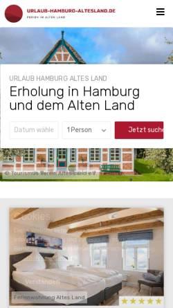 Vorschau der mobilen Webseite www.urlaub-hamburg-altesland.de, Ferienwohnungen auf dem Deich