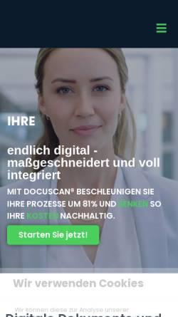 Vorschau der mobilen Webseite www.docuscan.de, DocuScan GmbH