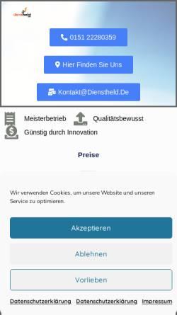 Vorschau der mobilen Webseite dienstheld.de, Dienstheld GmbH