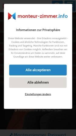 Vorschau der mobilen Webseite monteur-zimmer.info, Monteurzimmer - Florian Böttger & Georg Pieper GbR