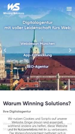 Vorschau der mobilen Webseite www.winning-solutions.de, Winning Solutions