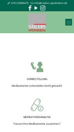 Vorschau der mobilen Webseite www.sailers-apotheken.de, Dr. Sailers Römer Apotheke