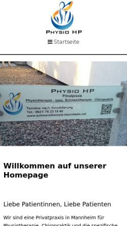 Vorschau der mobilen Webseite schmerztherapie-mannheim.net, Physio HP