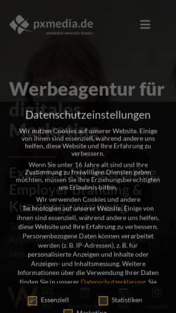 Vorschau der mobilen Webseite pxmedia.de, pxMEDIA.de GmbH