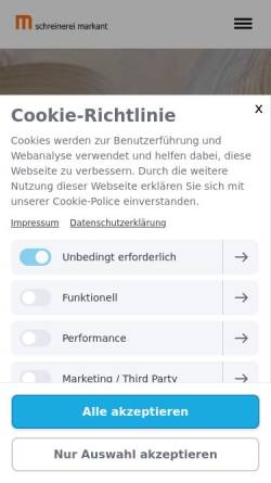 Vorschau der mobilen Webseite www.schreinerei-markant.de, Schreinerei Markant