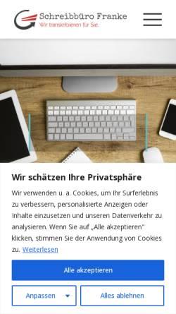 Vorschau der mobilen Webseite www.schreibbuero-franke.de, Schreibbüro Franke