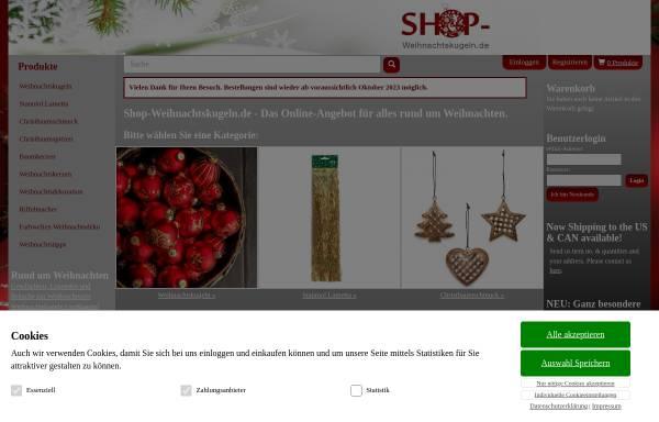 Vorschau von www.shop-weihnachtskugeln.de, shop-weihnachtskugeln - Connexion Handels GmbH