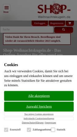 Vorschau der mobilen Webseite www.shop-weihnachtskugeln.de, shop-weihnachtskugeln - Connexion Handels GmbH