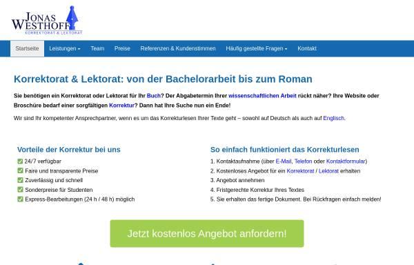 Vorschau von lektorat-westhoff.de, Jonas Westhoff Korrektorat & Lektorat