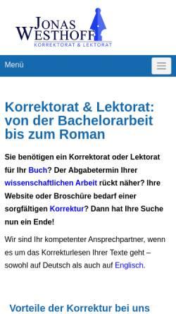 Vorschau der mobilen Webseite lektorat-westhoff.de, Jonas Westhoff Korrektorat & Lektorat