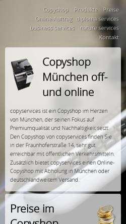 Vorschau der mobilen Webseite www.copyshop-muenchen.de, Copyservices