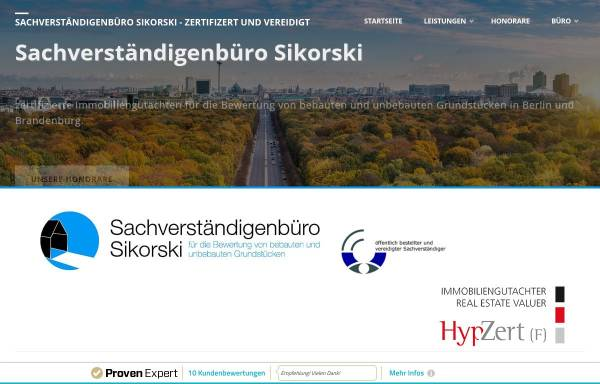 Vorschau von www.immobilienbewertung-berlin-brandenburg.de, Sachverständigenbüro Sikorski