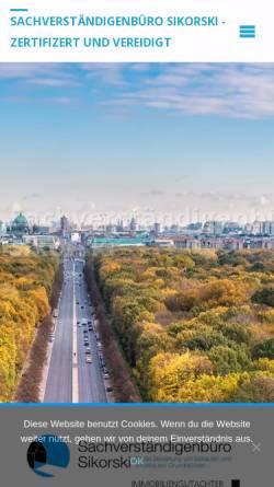 Vorschau der mobilen Webseite www.immobilienbewertung-berlin-brandenburg.de, Sachverständigenbüro Sikorski