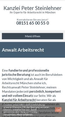 Vorschau der mobilen Webseite www.steinlehner.com, Rechtsanwalt Peter Steinlehner