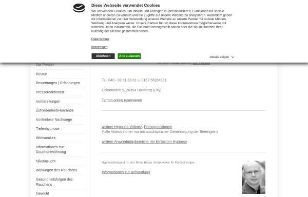 Vorschau von www.rauchen-hypnose.com, Praxis für Hypnose Hamburg Dr. phil. Elmar Basse