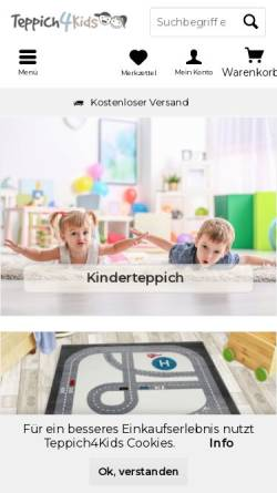 Vorschau der mobilen Webseite www.teppich4kids.de, Teppich4Kids