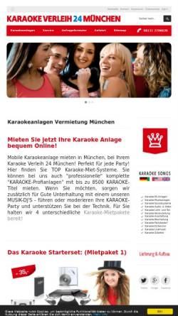 Vorschau der mobilen Webseite www.karaoke-verleih24-muenchen.de, Karaoke Verleih 24 München