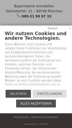 Vorschau der mobilen Webseite www.bayernwerte.de, Bayernwerte Immobilien