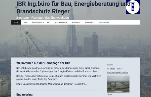 Vorschau von www.ibr-rieger.de, IBR Ingenieurbüro für Bau, Energie und Brandschutz - Dipl. - Ing. Ralf Rieger
