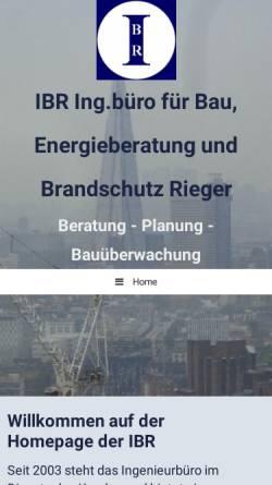 Vorschau der mobilen Webseite www.ibr-rieger.de, IBR Ingenieurbüro für Bau, Energie und Brandschutz - Dipl. - Ing. Ralf Rieger