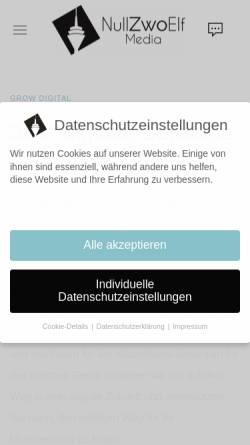 Vorschau der mobilen Webseite nullzwoelf.media, NullZwoElf Media