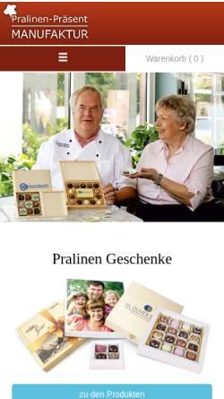 Vorschau der mobilen Webseite www.pralinenpraesente.com, Pralinen-Präsent Manufaktur